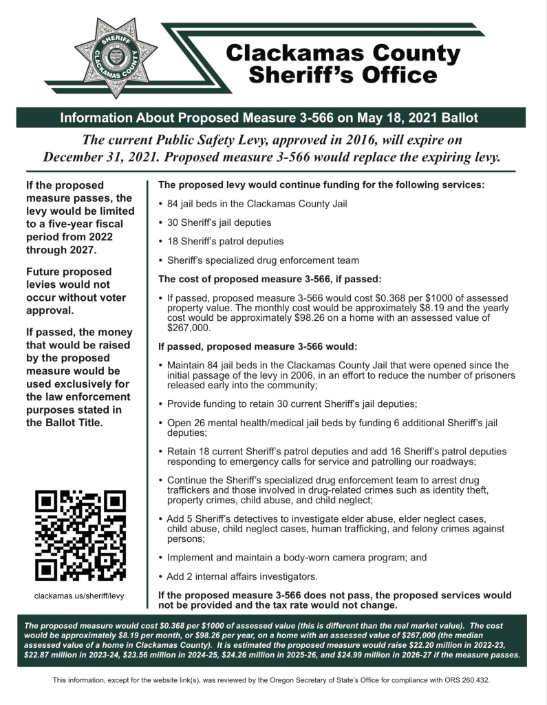 Information about Measure 3-566, Sheriff's Levy