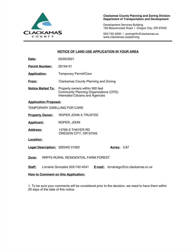 Z0194-21 Temporary Permit for Care
